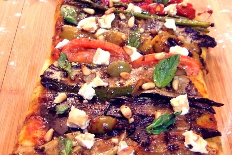 Focaccia aux légumes grillés, chèvre frais