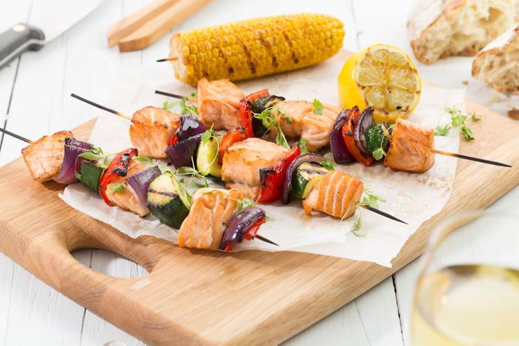 Brochettes de Saumon de Norvège et ses légumes du soleil