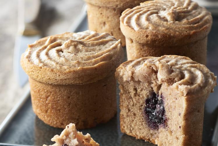 Muffins aux marrons, coeur myrtille