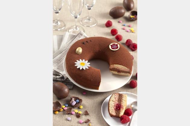Nid de Pâques framboise-chocolat de la Tarte Tropézienne