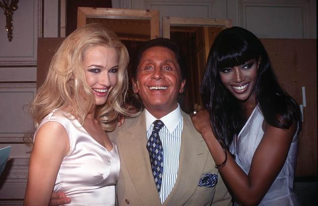 Karen Mulder, Naomi Campbell et Valentino Garavani le 9juillet 1995
