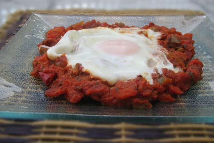 Fricassée de poivron-tomate à l'oeuf