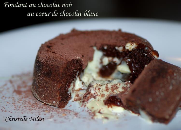 recette de fondant au chocolat noir au c ur de chocolat blanc la recette facile. Black Bedroom Furniture Sets. Home Design Ideas