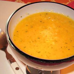 soupe de mangue et menthe fraîche