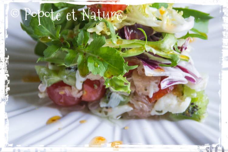 Salade de crabe au pamplemousse et aux kiwis