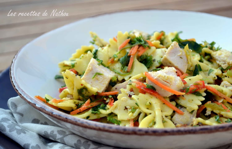 recette de salade de p 226 tes au poulet vinaigrette moutarde et curry la recette facile