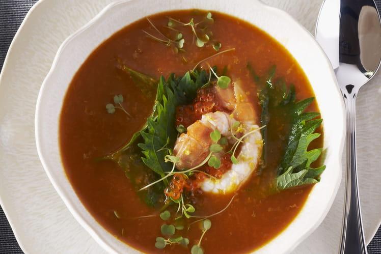 Bisque de homard aux langoustines