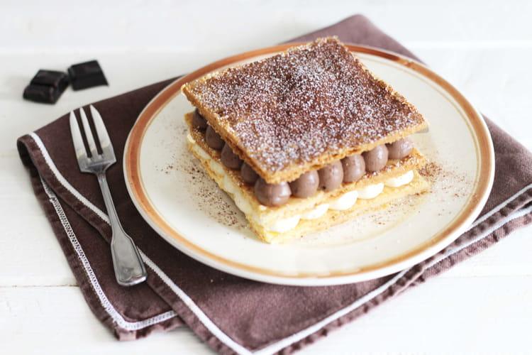 Mille-feuille à la crème diplomate chocolat et vanille