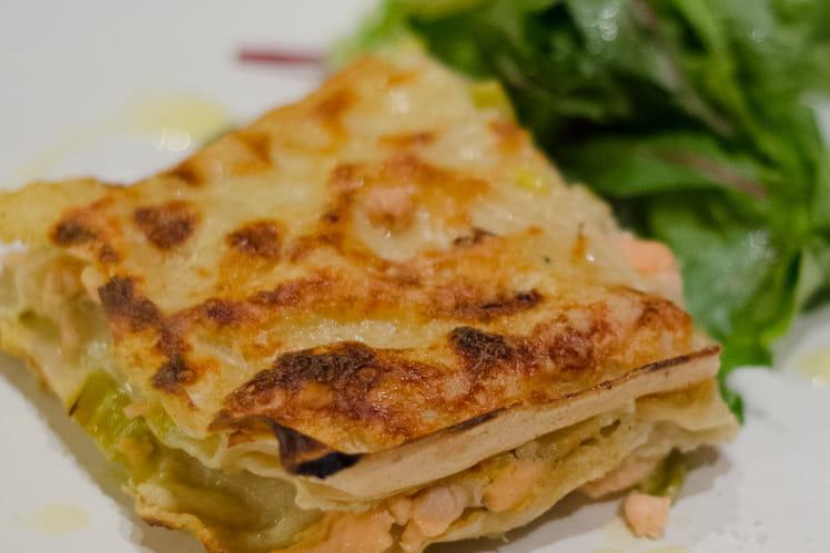Lasagnes fraîches aux deux saumons et poireaux