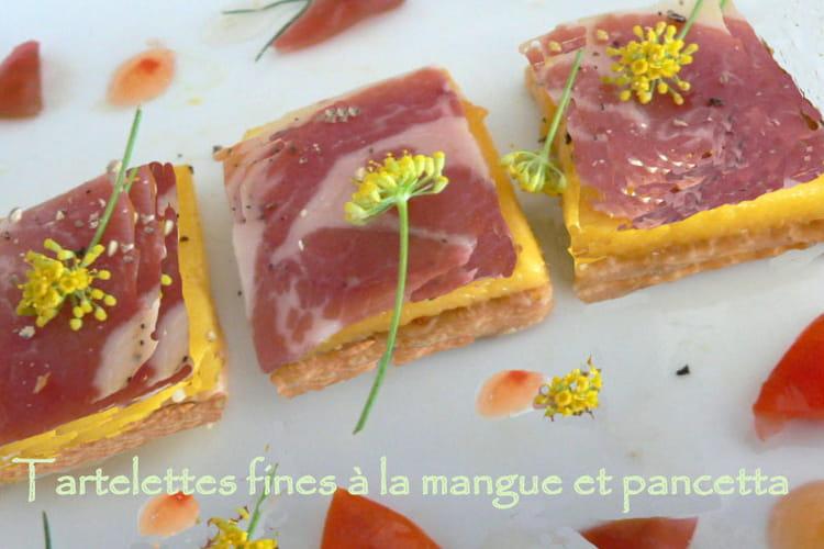 Tartelettes fines à la mangue et pancetta