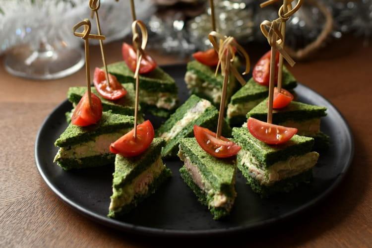 Amuse bouche club sandwich tout vert saumon avocat