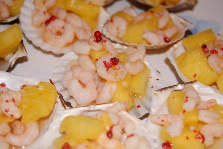 Crevettes apéritives marinées et ananas