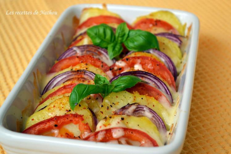 recette de tian de pommes de terre tomates et oignons rouges la mozzarella la recette facile. Black Bedroom Furniture Sets. Home Design Ideas