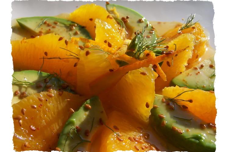 Salade d'avocat et suprêmes d'orange