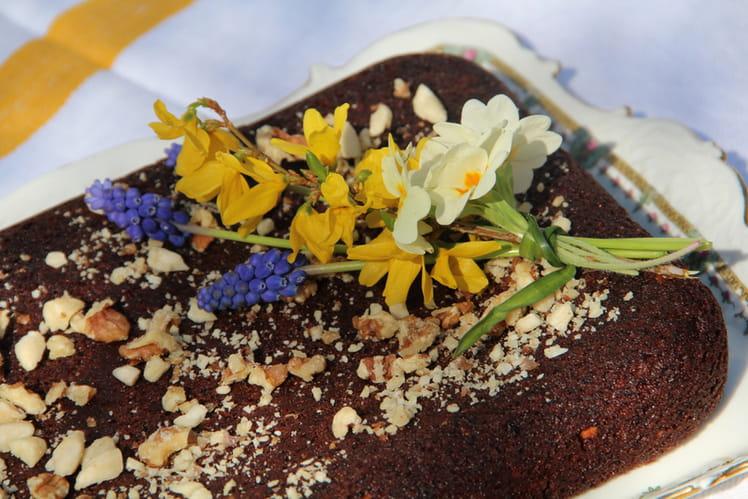 Brownie moelleux chocolat aux noix et aux amandes