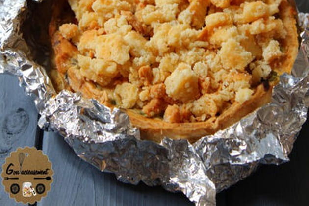 Tarte poulet petits pois cumin et crumble de parmesan