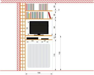 schéma du coffrage télé sur mesure entre le salon et la cuisine