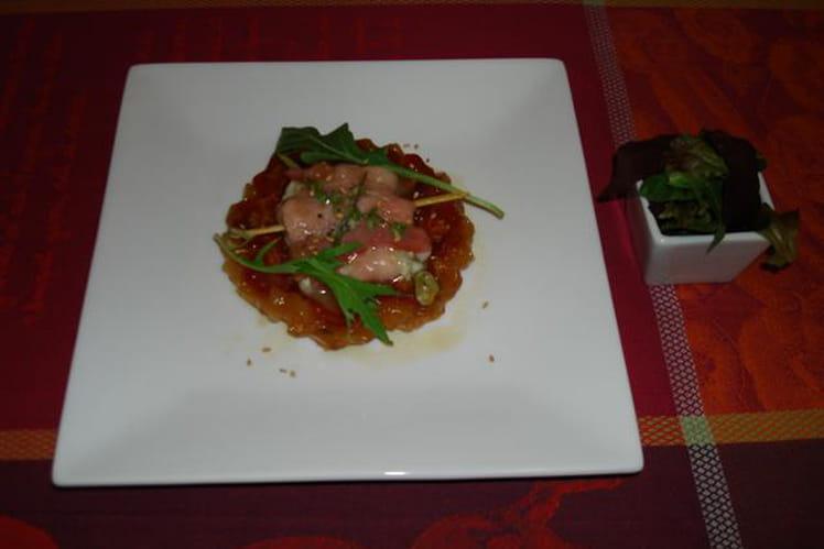 Tatin de tomates au caramel de balsamique, coulant de Rocamadour au miel de thym