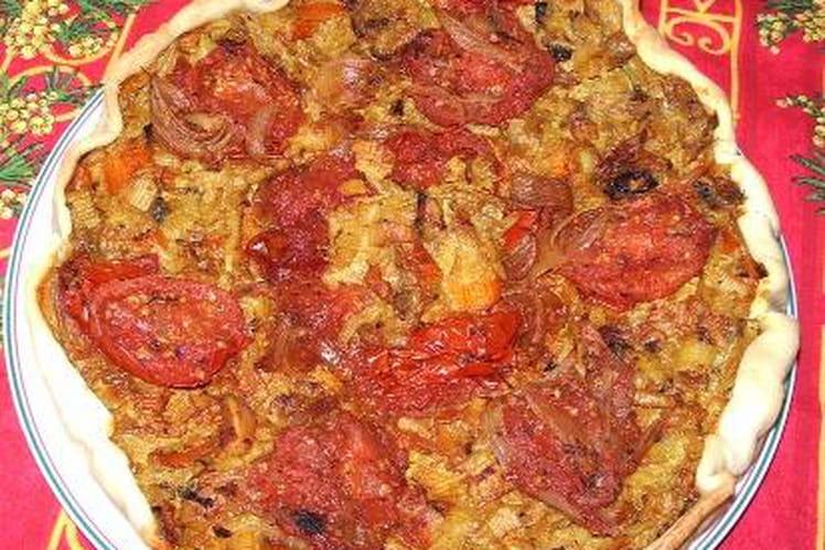 Tarte à la tomate et surimi au curry