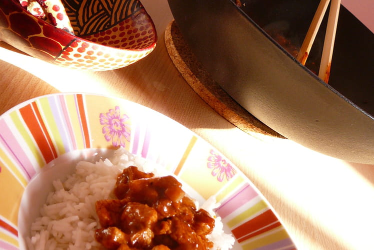 Poulet au curry madras en wok