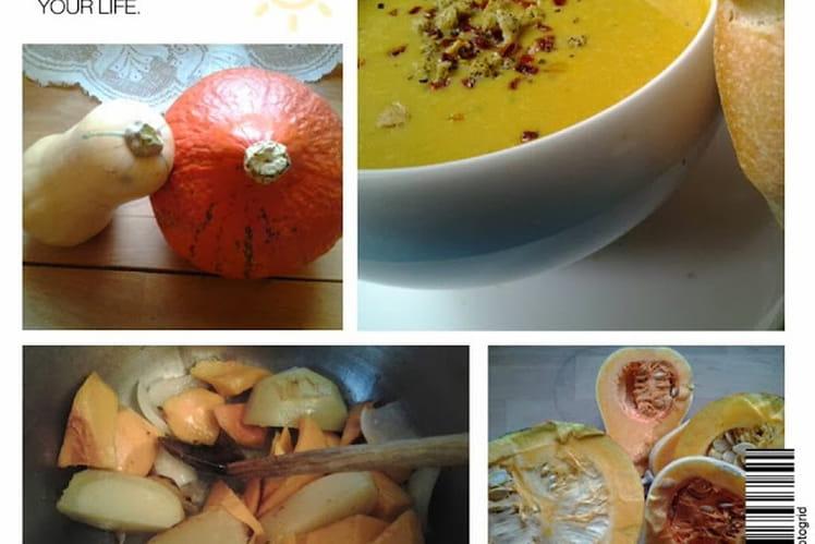 Soupe veloutée au potiron et à la courge butternut