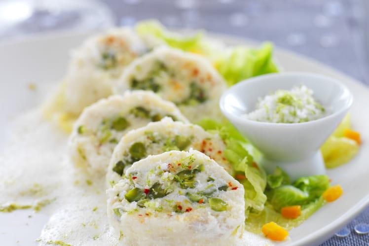 Boudin de poisson aux pistaches et à la Fleur de Sel de Guérande, écume de citron vert