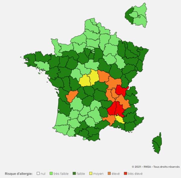 Carte des pollens en France par département au 25 août 2021