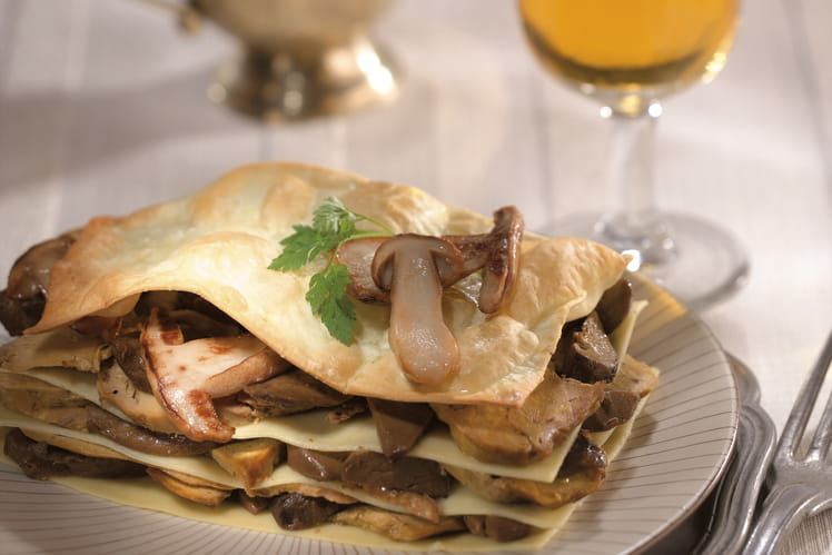 Lasagnes de foie gras de canard aux cèpes