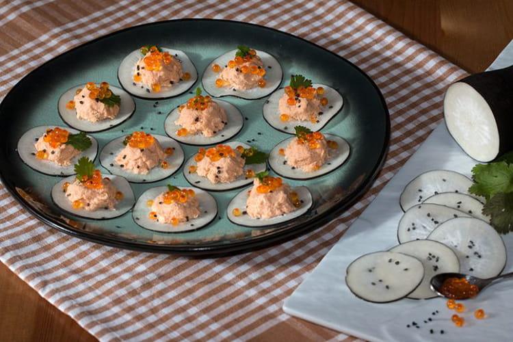 recette de bouch es de radis noir aux rillettes de saumon. Black Bedroom Furniture Sets. Home Design Ideas