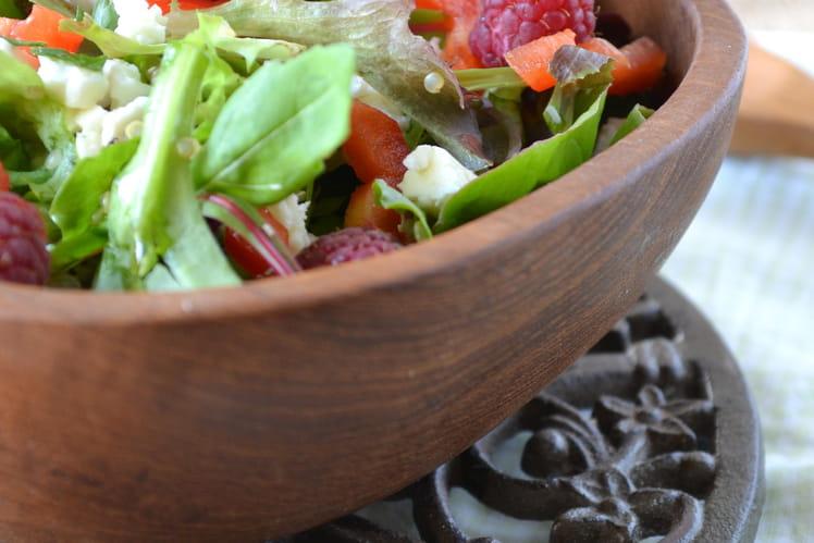 Salade quinoa-mesclun-framboises