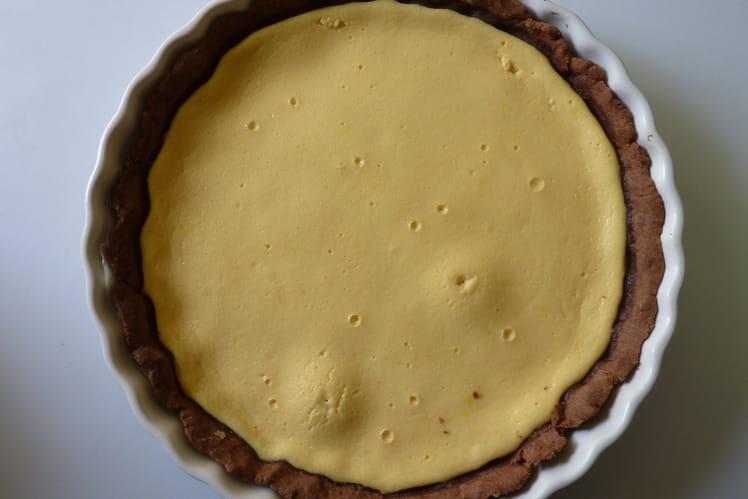 Tarte au fromage blanc et pâte sablée chocolat