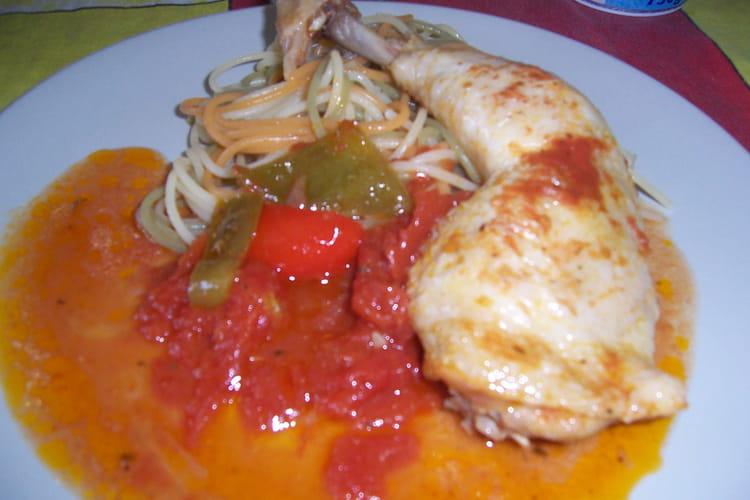 Cuisse de poulet au paprika et aux tomates