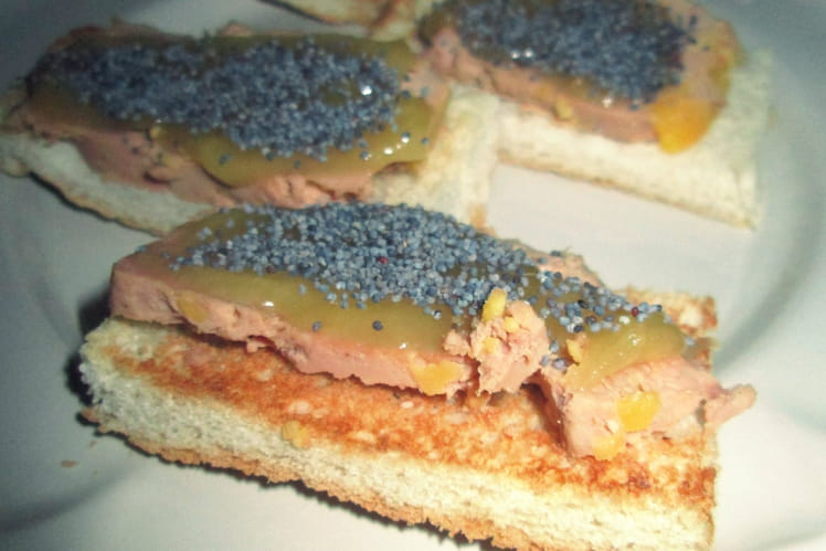Toast foie gras, miel & graines de pavots