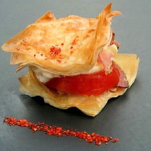 mille-feuille de tomates, chantilly de mozzarella