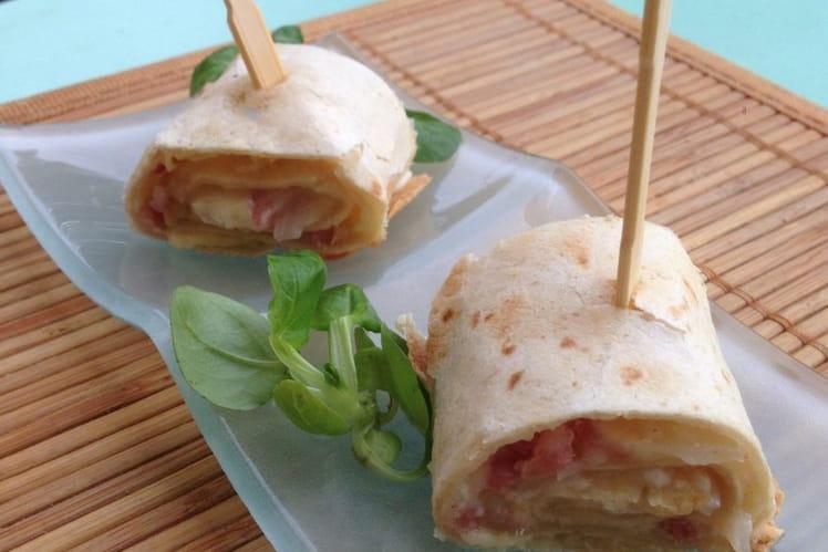 Wraps au fromage blanc, gruyère râpé et lardon fumés