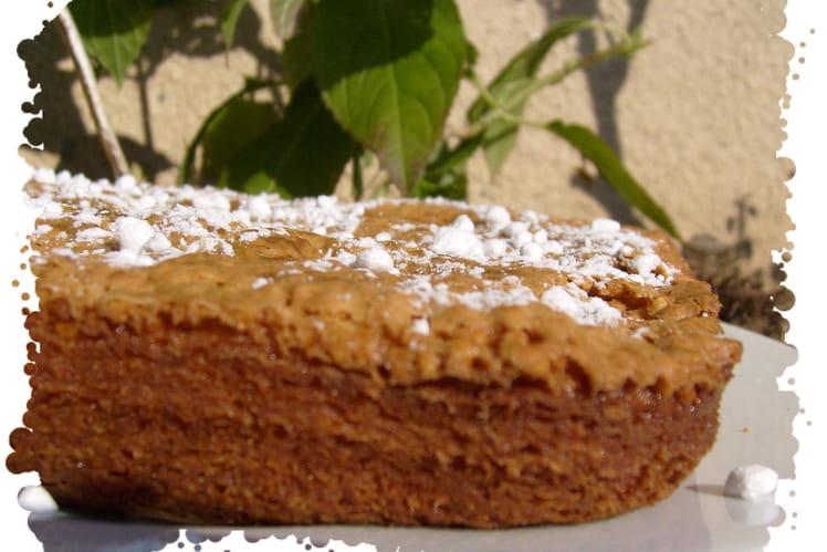 Brownie chocolat blanc, pistache et pipocas