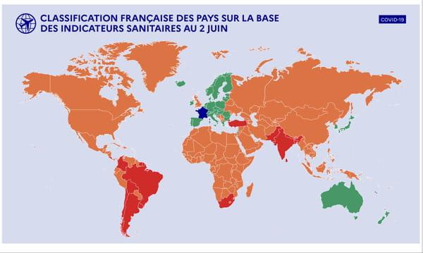 Carte des pays vert rouge et orange