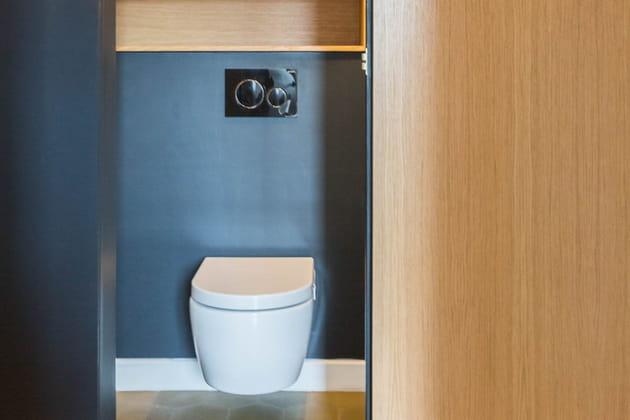 des wc entre bleu et bois. Black Bedroom Furniture Sets. Home Design Ideas