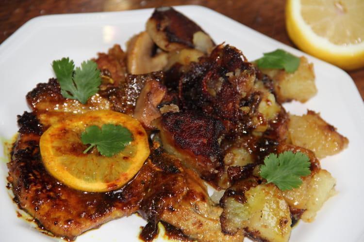Côtes de porc au citron, miel et curry