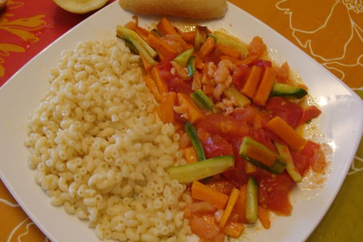 Légumes aux lardons de saumon fumé