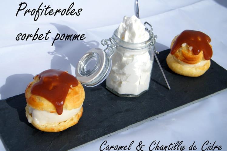 Profiteroles à la pomme , caramel et chantilly