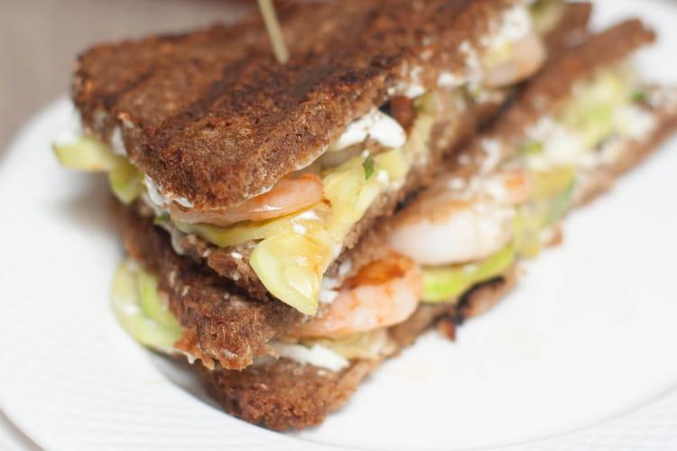 Sandwich crevettes courgettes wasabi