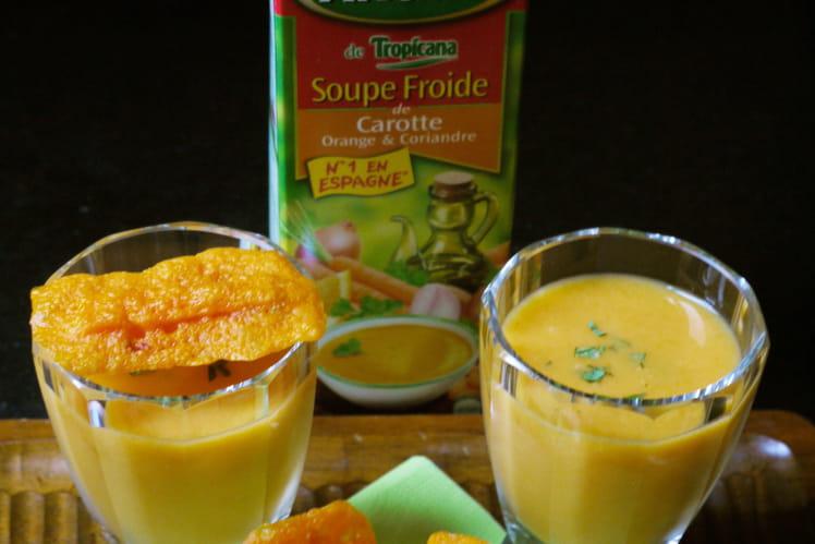 Soupe Froide de Carotte Orange & Coriandre Alvalle et ses chips mimolette-carotte