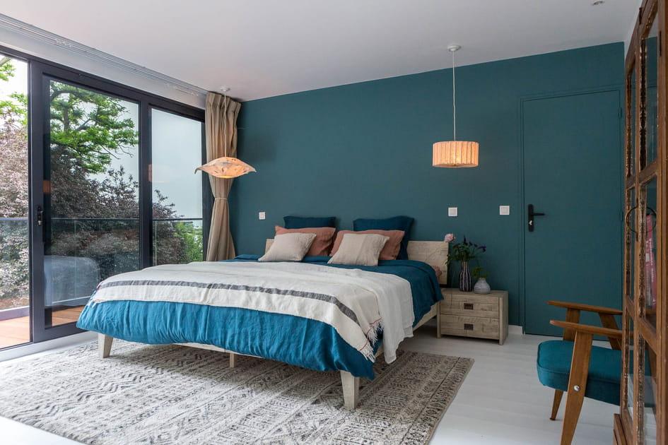 Chambre zen bleutée