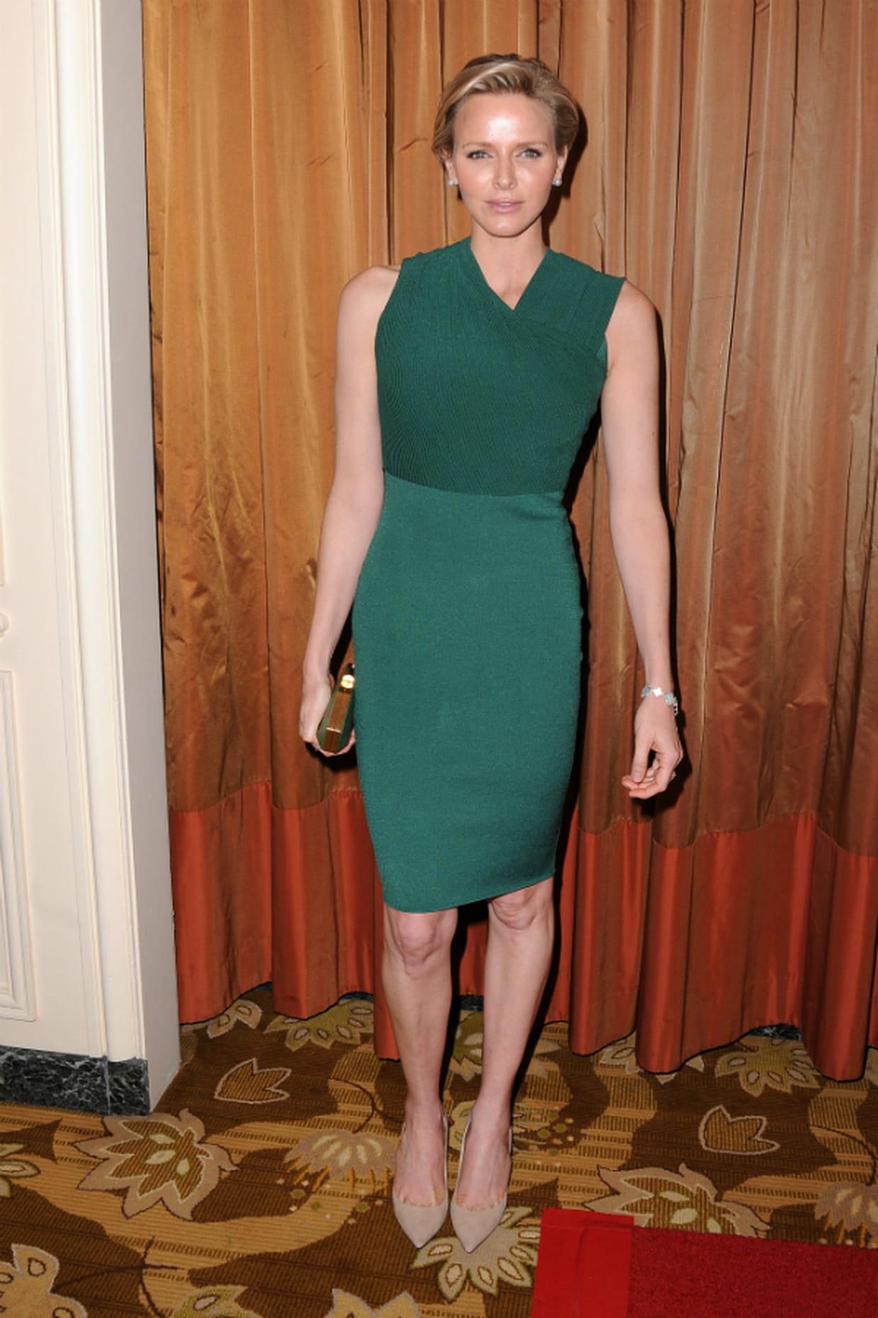 d5dcc94a052 Charlène de Monaco en petite robe verte
