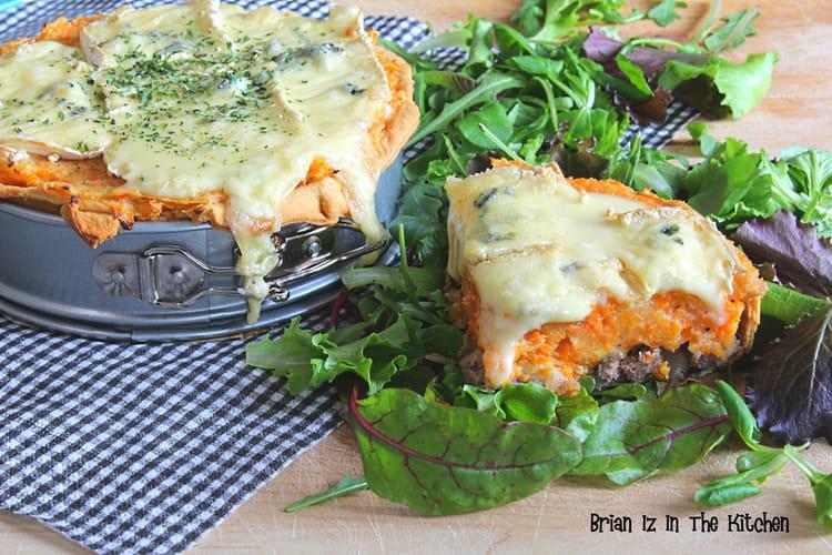 Tarte hachis parmentier carottes et fromage bleu