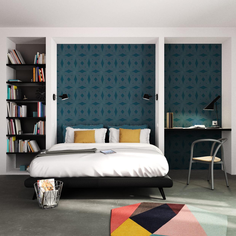 Papier peint bleu et graphique silverstone de 4 murs Papier peint 4 murs salon
