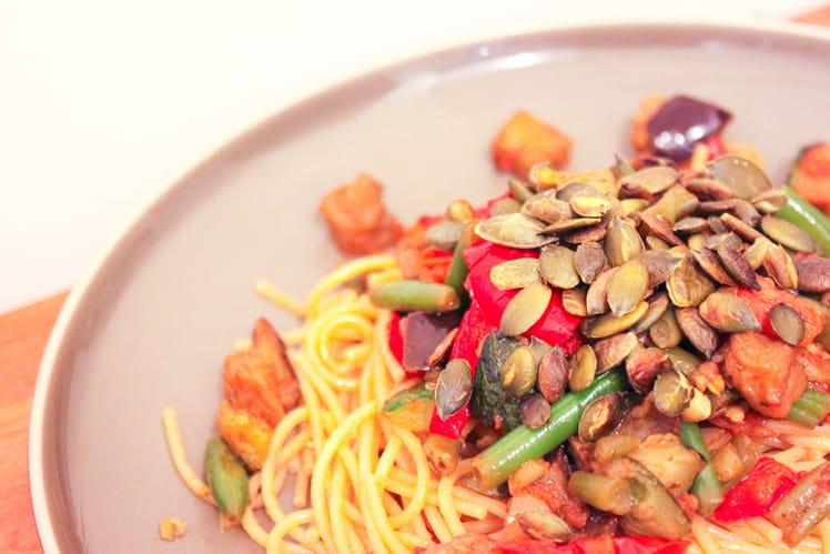 Spaghettis aux légumes et graines de courges