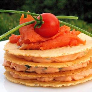 mille-feuille de mousse de saumon
