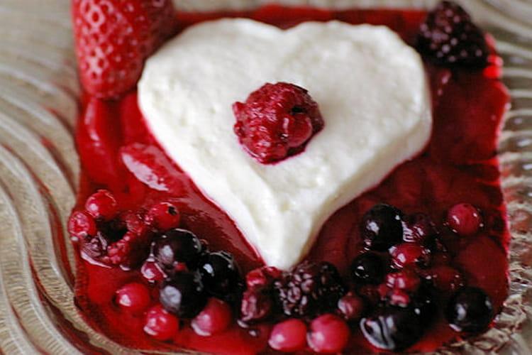 Coeurs de crème aux fruits rouges